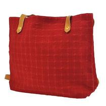 Authentic Hermes Ahmedabad 35 Shoulder Tote Bag Red Cotton Leather India 252-9m Photo
