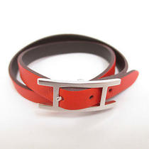 Authentic Hermes Behapi Double Tour Leather Orange Silver Bracelet 3700 Photo