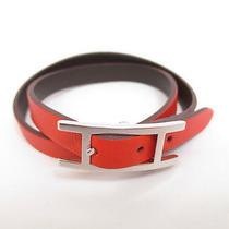Authentic Hermes Behapi Double Tour Leather Orange Silver Bracelet 3700 Photo