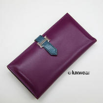 Authentic Hermes Bifold Bearn Wallet -Bicolor Violet and Blue  With Silver Photo