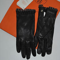 Authentic Hermes Black Lambskin Chainlink Ladies Gloves Size 7 - Unworn Photo
