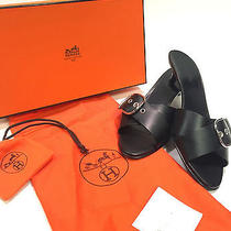 Authentic Hermes Black Leather W/ Buckle Kitten Heel Slide Sandals W Box Photo