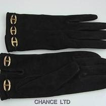 Authentic Hermes Black Suede Gloves S Very Good Photo
