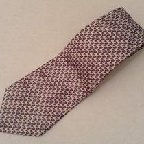 Authentic Hermes Blue and Brown Bird Pattern Tie Photo