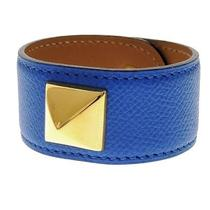 Authentic Hermes Blue Leather Medor Bracelet With Box Free Shipping Photo