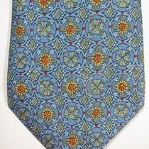 Authentic Hermes Blue Sunflowers and Clover 7878ua Long Silk Tie Made in France Photo