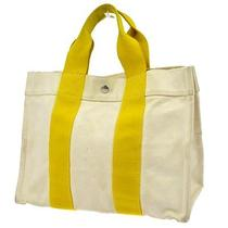 Authentic Hermes Bora Bora Tote Mm Hand Bag Yellow Cotton Vintage France 81-5y Photo