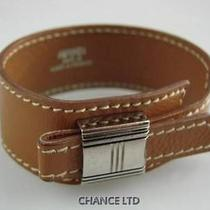 Authentic Hermes Brown Leather Artemis Bracelet Great Photo
