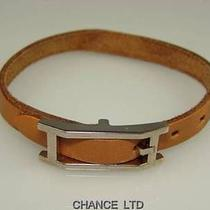 Authentic Hermes Brown Leather Bracelet Good Condition Photo