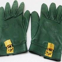 Authentic Hermes Cadenas Motif Leather Gloves Green Photo