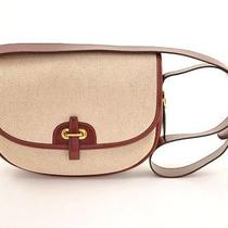 Authentic Hermes Canvas Burgundy Leather Shoulder Bag Balle De Golfe H308 Photo