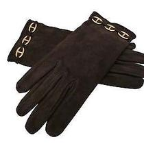 Authentic Hermes Chaine d'ancre Backskin Gold Hardware Lady's Hand Gloves E-9859 Photo