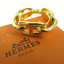 Authentic Hermes Chaine d'ancre Gold Tone Scarf Ring W/box Photo