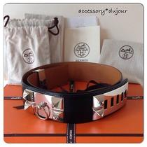 Authentic Hermes Collier De Chien Medor Belt Black/ Silver Hardware Size 85  Photo