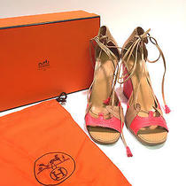 Authentic Hermes Coral & Tan Leather Wedges W Tassels on Laces Sz 9.5 Box Good Photo