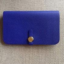 Authentic Hermes Dogon Wallet in Electric Blue With Gold Hardware Photo