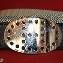 Authentic Hermes Evelyne Belt Grey Black Leather Silver Buckle H Sz 80 Evelyn Photo