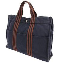 Authentic Hermes Fourre Tout Mm Hand Tote Bag Navy Brown Canvas France 66-3ao Photo