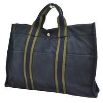 Authentic Hermes Fourre Tout Mm Hand Tote Bag Navy Cotton France Vintage 53-6o Photo