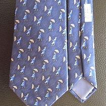 Authentic Hermes Girl With Umbrella 7808 Fa Blue Silk Tie  New Photo