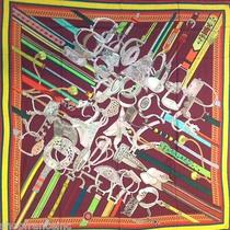 Authentic Hermes Gm Cashmere Silk Scarf Shawl Concours d'etriers Bordeaux New Photo