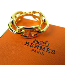 Authentic Hermes Gold Tone Chaine d'ancre Scarf Ring W/box Photo