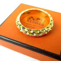 Authentic Hermes Gold Tone Dot Design Scarf Ring Photo