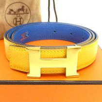 Authentic Hermes H Belt Blue & Yellow Leather & Gold Buckle France B in Square  Photo