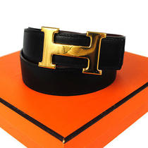 Authentic Hermes H Buckle Belt Constance Gold Black France 65 Vintage 04h260 Photo