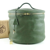 Authentic Hermes Inter City Green Color Leather Vanity Hand Bag Purse France  Photo