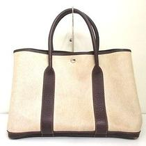 Authentic Hermes Ivory Dark Brown Garden Party Pm Toile H Leather Tote Bag Photo