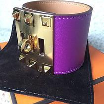 Authentic Hermes Kelly Extreme Cuff Bracelet Anemone Bnib Gold Hardware Small Photo