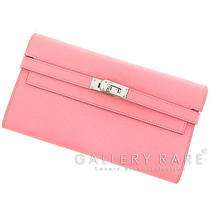 Authentic Hermes Kelly Wallet Long Rose Confetti Pink Leather Stamp R Gr 1534719 Photo