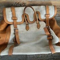 Authentic Hermes Large Tote Travel Duffle Drag Bag Suitcase Canvas Leather Photo