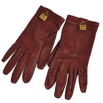 Authentic Hermes Leather Gloves With Padlock Charm Burgundy Vintage Ghw Lp14129 Photo