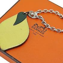 Authentic Hermes Lemon Fruit Leather Sterling Silver Keychain Bag Charm 14466 Photo