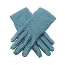Authentic Hermes Lisbon Gloves Globe Lamb Leather Cashmere Navy Used no.7543 Photo