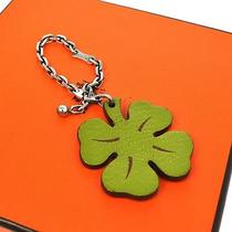 Authentic Hermes Logos Clover Motif Charm Key Chain Green Orange Leather 08j353 Photo