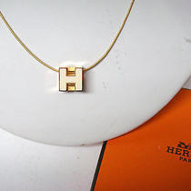 Authentic Hermes Logos H Cube Necklace Pendant Gold-Tone White Accessory 6015  Photo