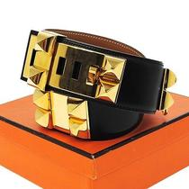 Authentic Hermes Logos Medor Belt Black Gold Box Calf Leather France Box K05499 Photo