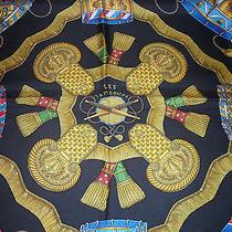Authentic Hermes Metz Les Tambours Black Multi-Color Drum Detail Silk Scarf / Photo
