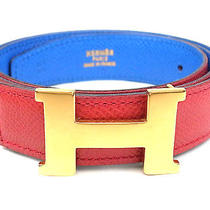 Authentic Hermes Mini H Belt blue&red Color Leather Gold Color Metal France Z  Photo