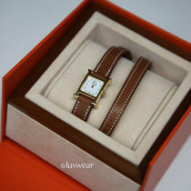 Authentic Hermes Mini H Heure  Double Tour Watch - Gold With Barenia -New Model Photo