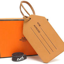 Authentic Hermes Name Tag Leather Beige Color 2009 Bag Accessory W/box Photo