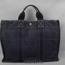 Authentic Hermes Navy Sac Deauville Fourre-Tout Mm Tote Bag Very Good Photo