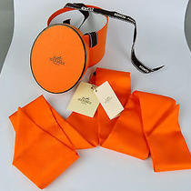 Authentic Hermes Orange Bow Tie 100% Silk Scarf Made in France W/box Photo