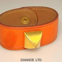 Authentic Hermes Orange Leather Bracelet Very Good Photo