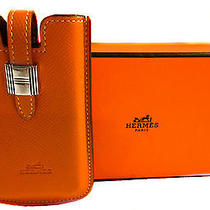 Authentic Hermes Orange Leather Cell Phone Cover 250 Photo