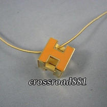 Authentic Hermes Orange X Gold H Cube Pendant / Necklace Great Condition Photo