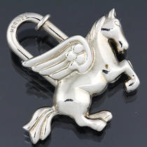 Authentic Hermes Pegasus Motif Key Ring Silver 22916 Free Shipping Photo